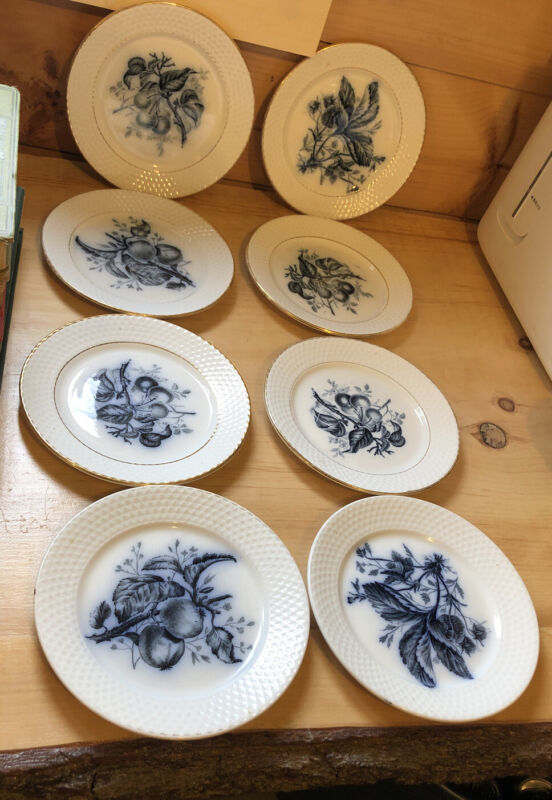 """8 Vintage P. REGOUT Maastricht FRUIT Flow Blue 7 3/4"""" Plates"""