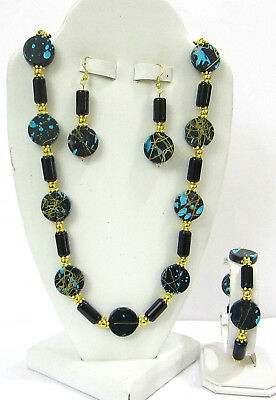 NEW-HANDCRAFTED  CHUNKY TURQUOISE  PAINT SPLATTER & PEARL 4 PIECE JEWELRY SET -