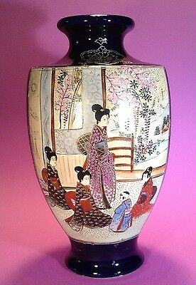 Nippon Satsuma Cobalt Blue Vase With Hand Painted Scenic Panels Gilding Moriage