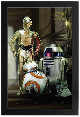 - STAR WARS DROIDS C3PO R2D2 13x19 FRAMED GELCOAT POSTER FORCE DARTH VADER SOLO!!!