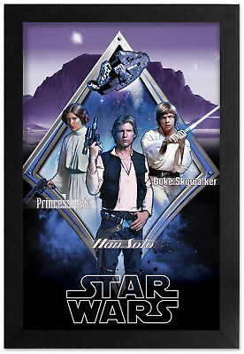 - STAR WARS THE REBEL THREE 13x19 FRAMED GELCOAT POSTER JEDI LUKE HAN SOLO LEIA!!!
