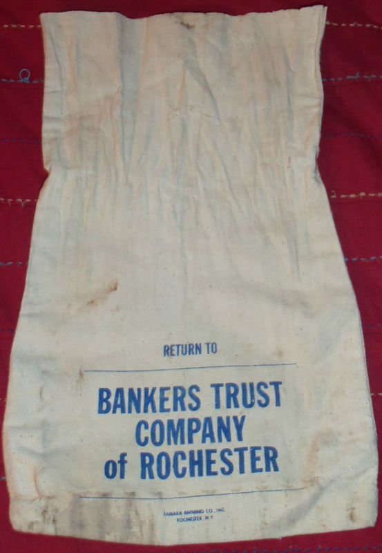 Bankers Trust Company of Rochester Bank money coin deposit bag