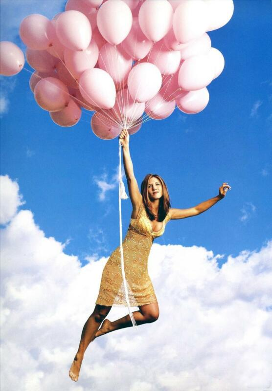 Jennifer Aniston Floating With Pink Balloons 8x10 Photo Print