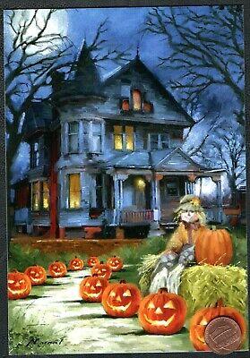 Halloween Greeting Cards (Halloween Haunted House Scarecrow Pumpkins Moon Trees - Halloween Greeting)