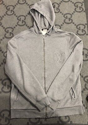 100% AUTHENTIC LOUIS VUITTON BIG LV LOGO HOODIE GRAY RARE EXCLUSIVE SZ LARGE L for sale  Shipping to Canada
