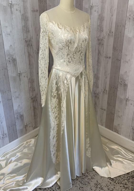 1940s ANTIQUE Liquid Satin WEDDING GOWN/DRESS Ivory/Cream Vintage Train S/2
