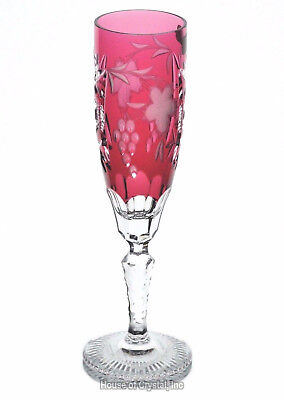 Nachtmann Traube Gold Ruby Cranberry Cut to Clear Crystal Wine Champagne Flute
