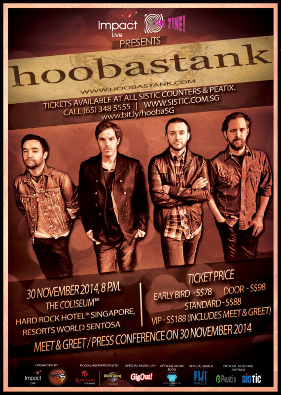 HOOBSTANK 2014 SINGAPORE CONCERT TOUR POSTER- Post-grunge, Alt. Rock Metal Music