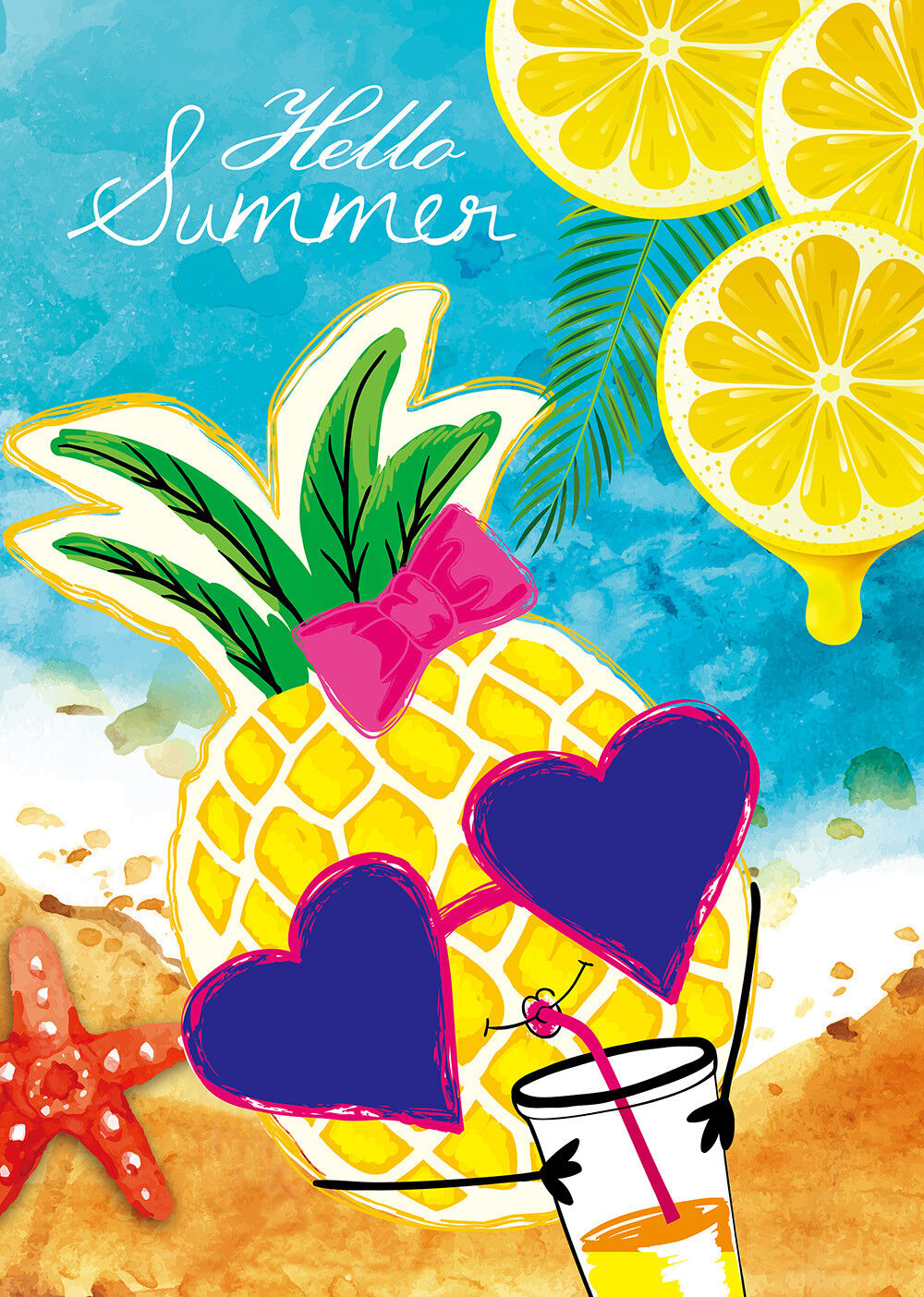 Morigins Hello Summer Beach Sea Sunglasses Pineapple Double