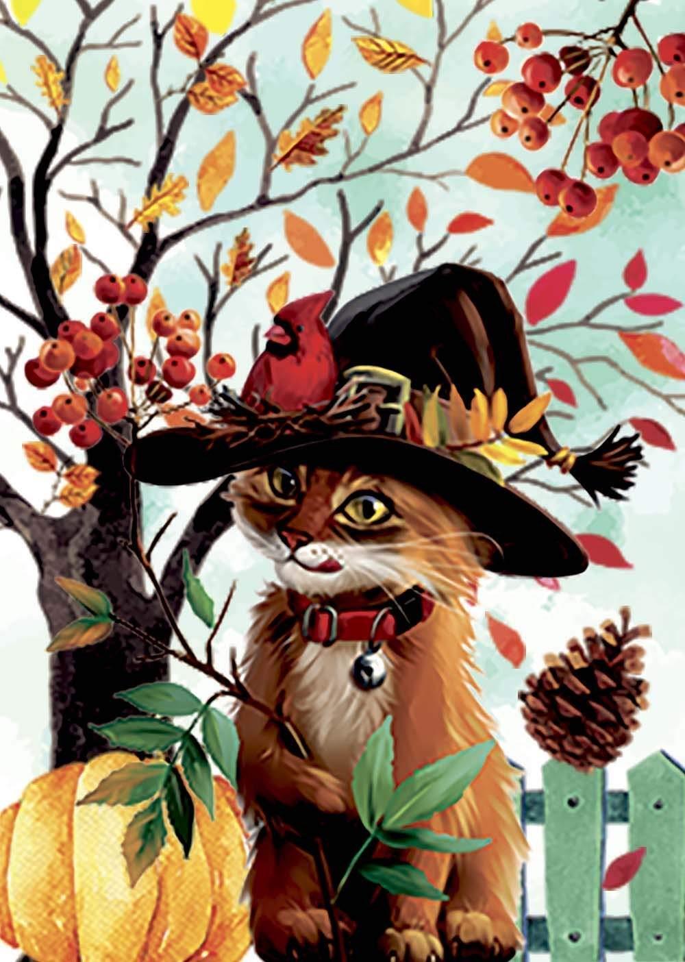Morigins Fall Leaves Yard Autumn Bird Wizard Cat Pumpkin Hal