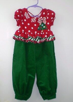 NEW Bonnie Baby Toddler Girls 18m Christmas Romper Pants Outfit ADORABLE *A - Bonnie Baby Christmas Outfits