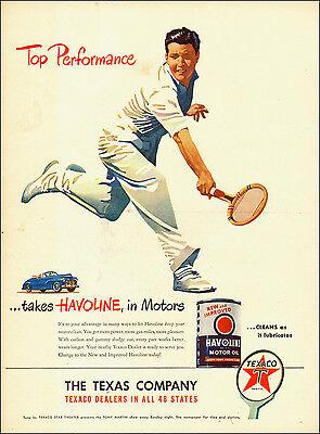 1945 vintage AD HAVOLINE MOTOR OIL TEXACO nice Art Tennis Player-120514