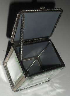 small vintage silver and mirror jewellery box trinket box 1 piece