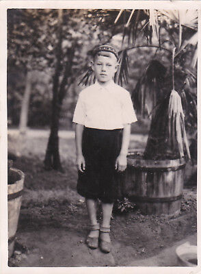 1950s Handsome young boy in skullcap fashion old Russian Soviet photo