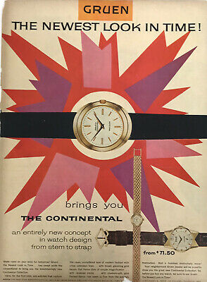 Gruen Watches Magazine Print Ad Vintage Accessories Women Jewelry 1955 Original
