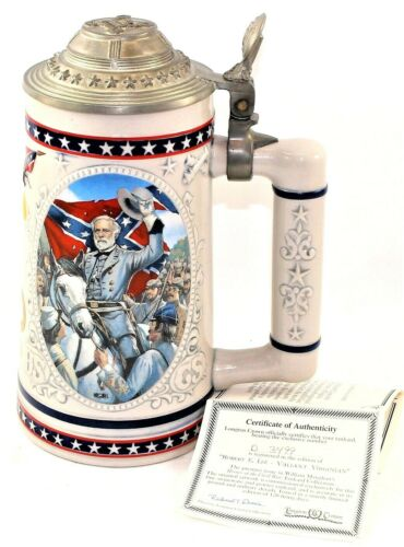 """Longton Crown """"Heroes Of The Civil War"""" Collectible Beer Stein Tankard D3499 COA"""
