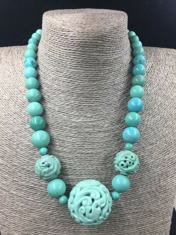 Vintage Chinese Turquoise Beads Necklace