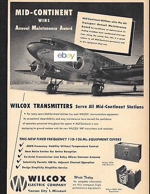 MID-CONTINENT AIRLINES 1947 DOUGLAS DC-3 CITY OF HOUSTON WILCOX ELECTRIC AD