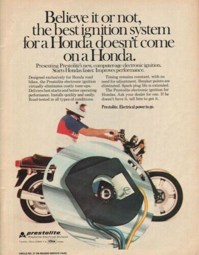 1977 Prestolite Electronic Ignition for Honda - Vintage Motorcycle Advertisement
