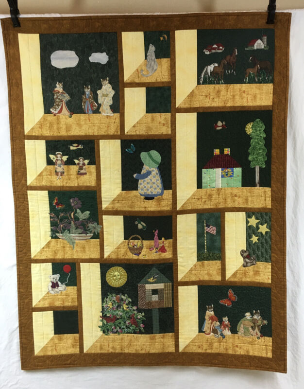 Handmade Cotton Shadow Box Window Scene FINISHED Wall Hanging Quilt