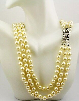 Pearl Pouch - Jackie  Kennedy Classic Triple Strand Simulated Pearl Necklace w/box/pouch/cert.