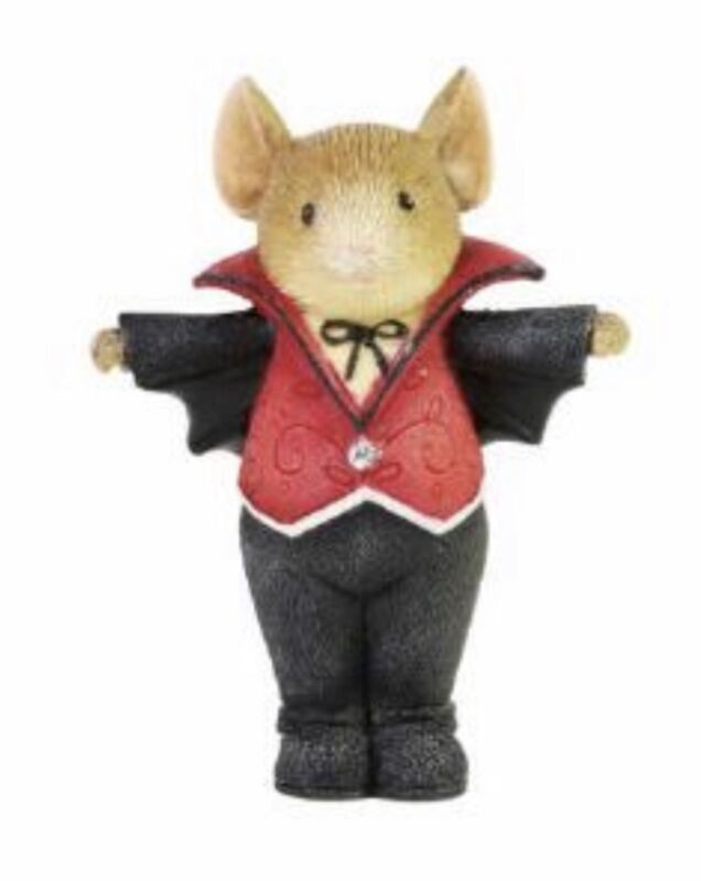 """Tails with Heart Halloween Vampire Mouse Figurine 2""""H Enesco NIB 2021 New"""