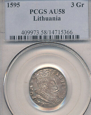 Click now to see the BUY IT NOW Price! 1595 LITHUANIA POLAND SIGISMUND III 1587-1632-SILVER 3 GROSCHEN PCGS AU58