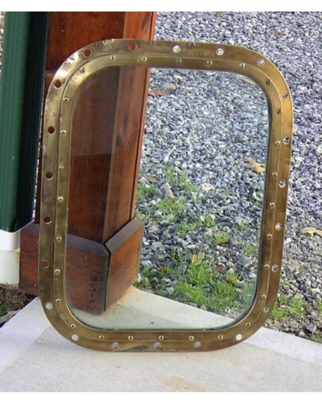 Large Vintage Brass Porthole Window