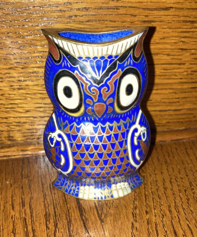 Small Cloisonne Enameled Blue Owl Vase Container Pen Holder Brush Holder