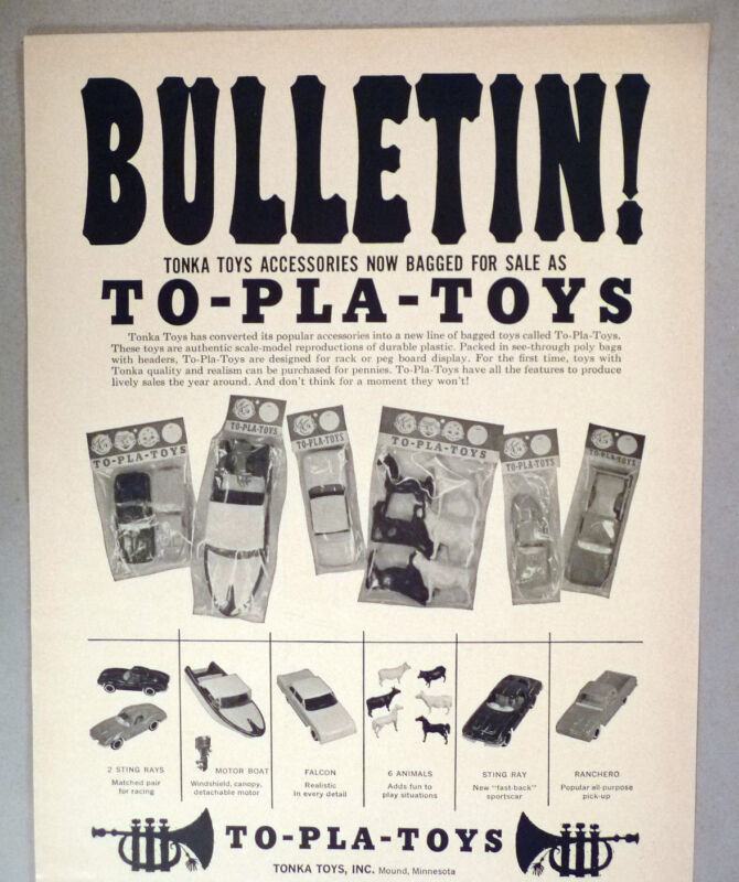 Tonka Toys Accesories PRINT AD - 1965 ~~ To-Play-Toy