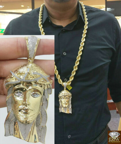 10k Mens 1.81 Ct Diamond Jesus Head, Charm Pendent