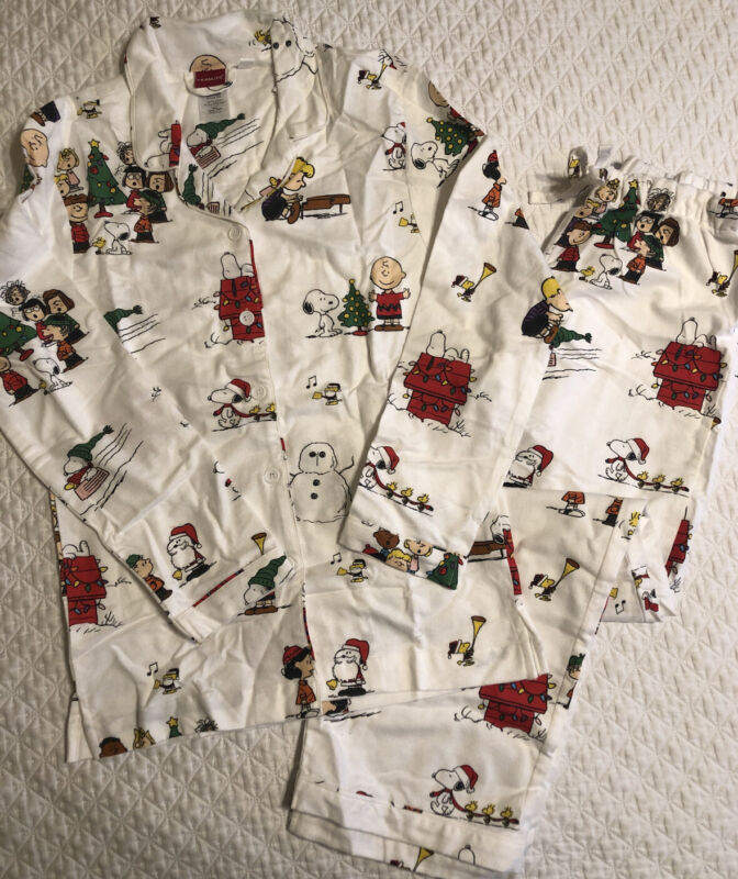 POTTERY BARN TEEN Peanuts Flannel Pajama Set Medium