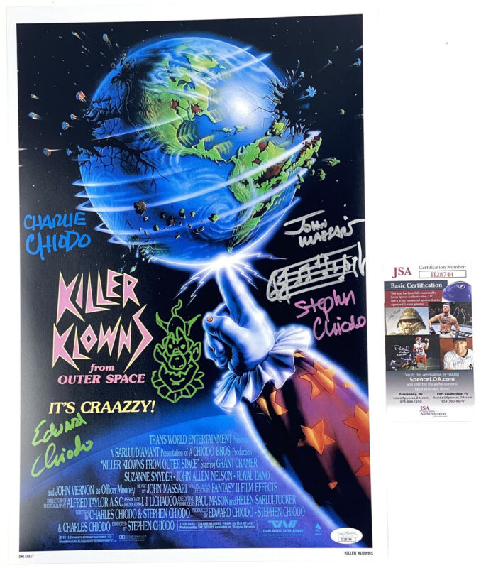 The Chiodo Brothers signed & SKETCH 12x18 Poster Killer Klowns Outer Space JSA