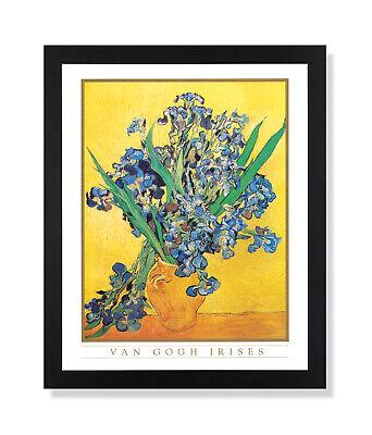 Vincent Van Gogh Irises Vase Flower Wall Picture Black Framed Art (Vincent Van Gogh Vase)