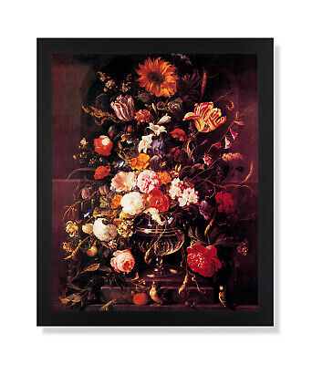 Butterfly And Flowers In Vase Victorian Wall Picture Black Framed Art Print ()