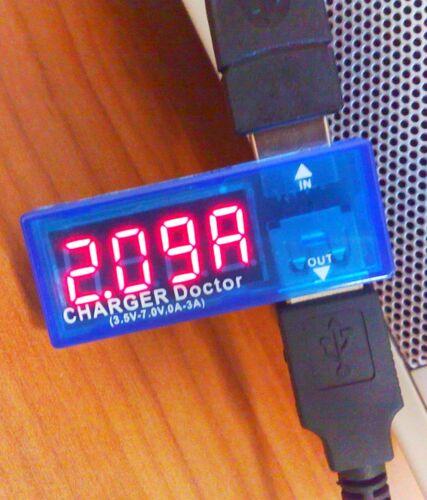 USB port & Cable Tester Meter Measure amp & volt Output test LED CHARGER DOCTOR