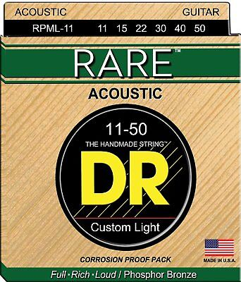 Rare Phosphor Bronze Acoustic Guitar - DR Strings Rare RPML-11 Phosphor Bronze Acoustic Guitar Strings 11-50 2 pack
