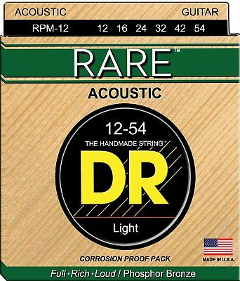 Rare Phosphor Bronze Acoustic Guitar - DR Strings Rare RPM-12 Phosphor Bronze Acoustic Guitar Strings 12-54 2 pack