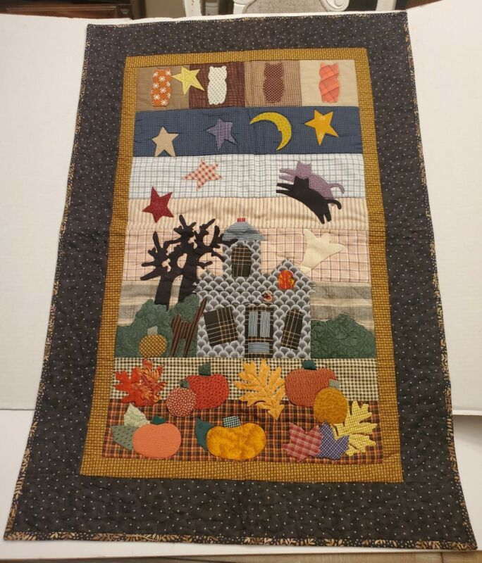 "Wall Hanging  34"" x 23"" Harvest Fall Halloween Appliqued Patchwork Quilted"