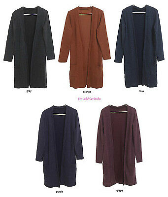 Japan Open Front Pocket Extra Long Knit Cardigan! FREE US - Extra Long Cardigan