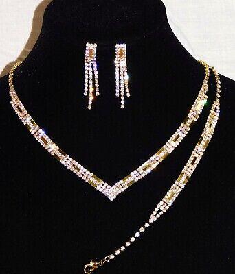 3PC Bridal Set Gold W. Diamond Accent Necklace, Earrings and Bracelet /16104 Diamond Accent Bracelet And Necklace