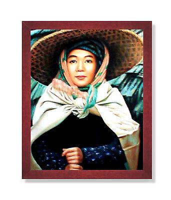 Oriental Asian Japanese Woman Girl Wall Picture Cherry Framed Art Print - Oriental Wall Art
