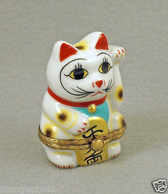New French Limoges Trinket Box Happy Cat Japanese Maneki-Neko Good Fortune