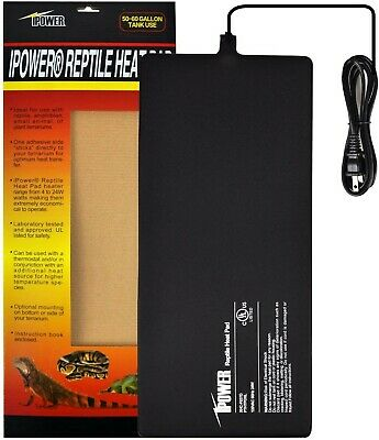 "Reptile Uniform Heat Pad Mat under Tank Terrarium Warmer 8x18"" 24W, by iPower"