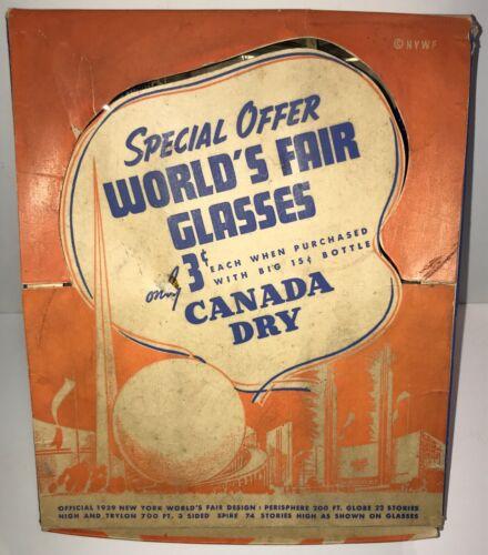 1939 WORLD'S FAIR GLASSES SET IN ORIGINAL BOX CANADA DRY