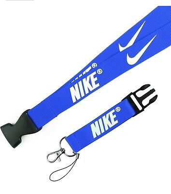 Nike Blue and White Buckle Keychain Holder Lanyard