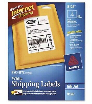 Avery 8126 Inkjet Shipping Labels - 5.5 X 8.5 50 Label White