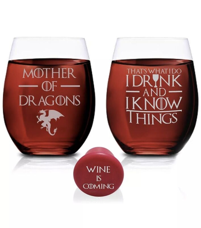 Game Of Thrones Wine Glasses - Mother of Dragons & I Drink And I Know - Set of 2
