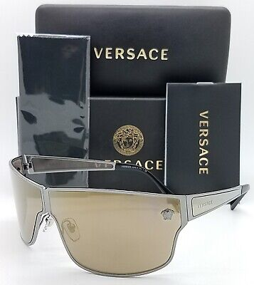 NEW Versace sunglasses VE2206 10015A 72 Ruthenium Brown Gold Mirror AUTHENTIC