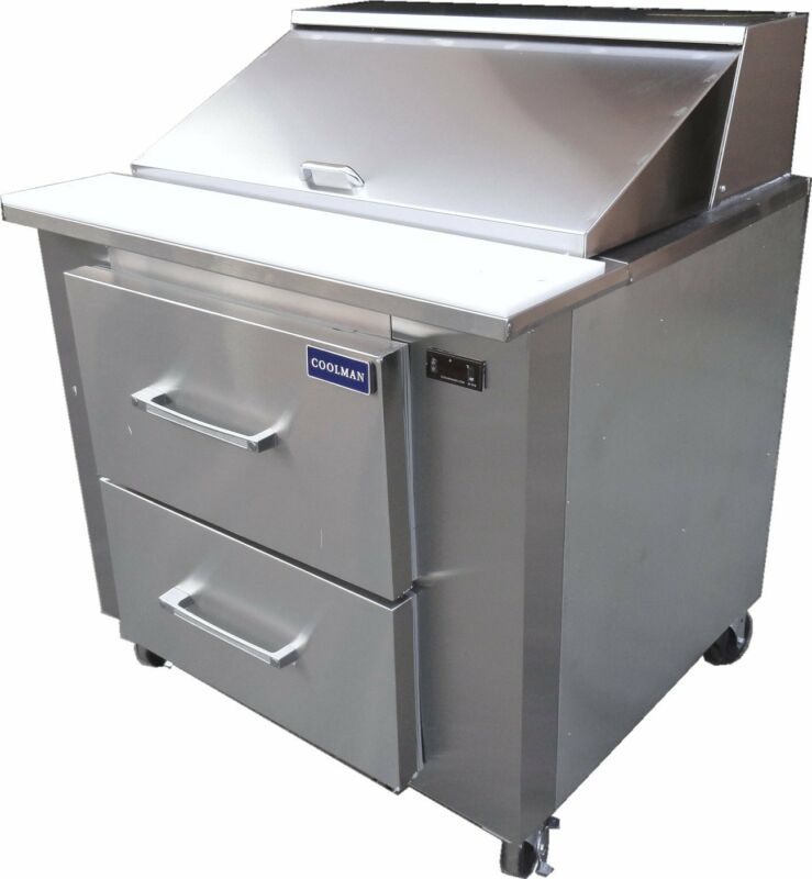 """Coolman Commercial Refrigerated Sandwich Prep Table 36"""" with two drawers"""